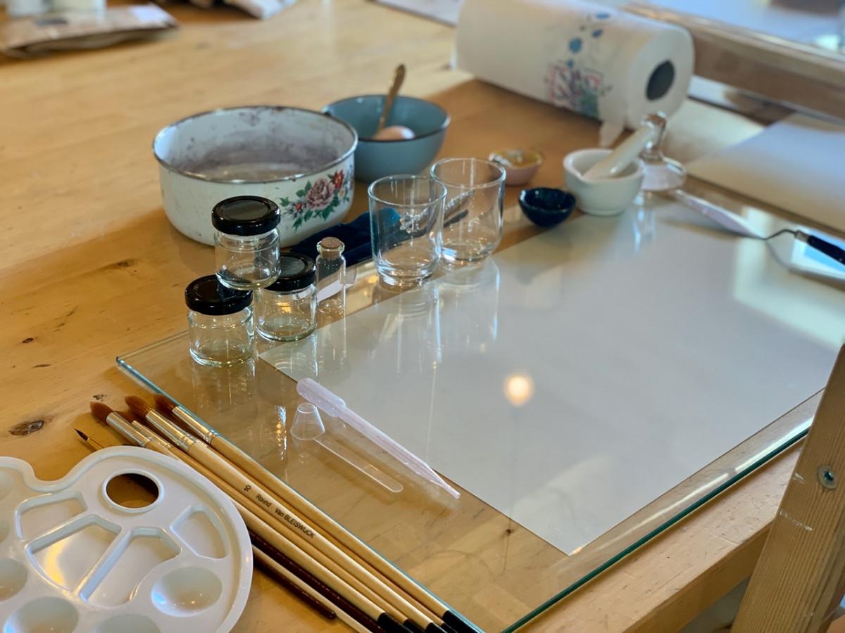 Botanisch verf en papier maken